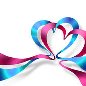 Two hearts made of ribbons — Стоковое фото