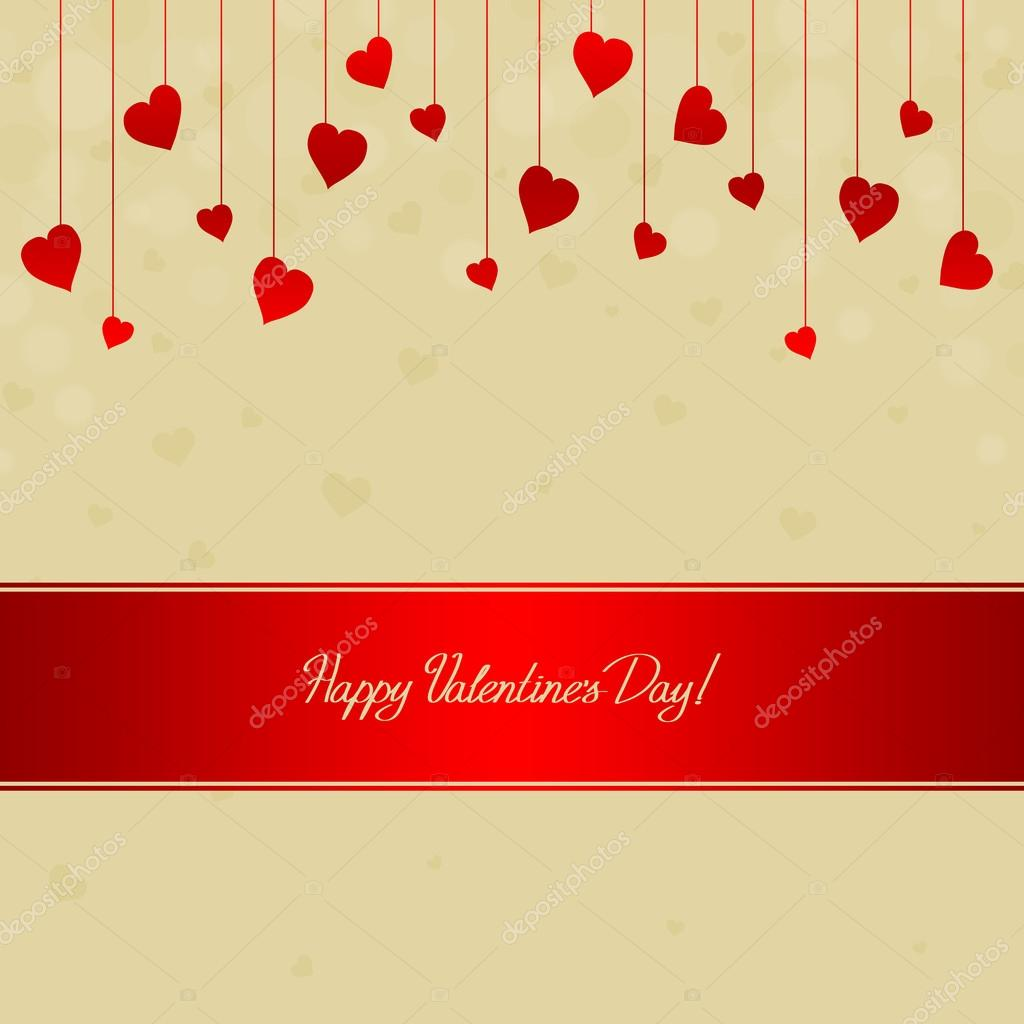Valentine's day card with many red hearts  Foto Stock #19085065