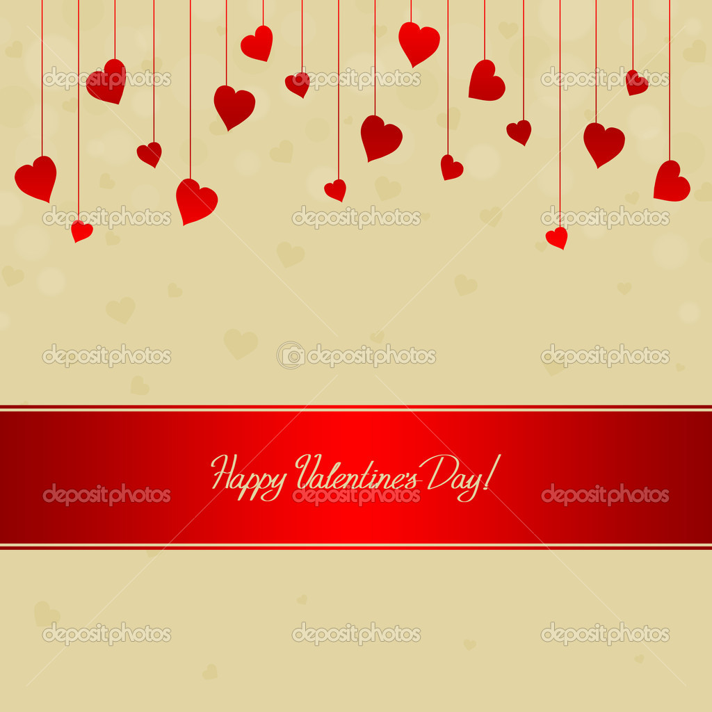 Valentine's day card with many red hearts — 图库照片 #19085065