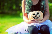 With the halloween pumpkin — Stock Photo