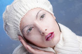 Snowy beautiful girl — Stock Photo