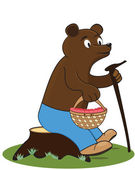 Glad bear sits on stump with basket of raspberries — Stock Vector