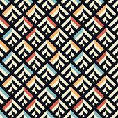 民族のシームレスな幾何学的なジグザグ パターン背景 — ストックベクタ