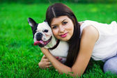 Girl with the dog — Stock Photo