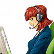 Call center girl - Stock Photo