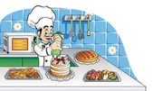 Happy pastry chef at work — Stock Vector