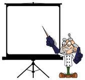 Scientist at projector screen — Stock Vector
