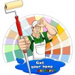 House painter with paint roller — Stock Vector