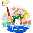 Stock Vector: House painter with paint roller