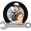 Cheerful tire specialist — Stock Vector