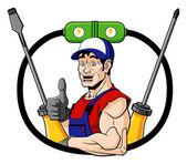 Happy electrician — Stock Vector