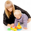 Mom plays with a small baby — Stock Photo