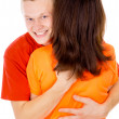 The handsome young man is hugging a girl — Stock Photo