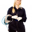 Beautiful girl Builder keep the wire — Stock Photo