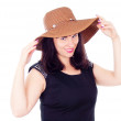 Beautiful girl poses in the hat — Stock Photo