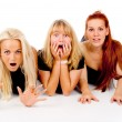 Beautiful girls frightened look, shout — Stock Photo