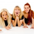 Beautiful girls frightened look, shout — Stock Photo #15789949