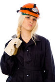A beautiful girl with a gas key — Stock Photo