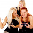 The three girls cursing because of video games — Stock Photo