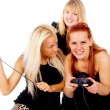 The three girls cursing because of video games - Stock Photo