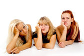 Beautiful girls sad watching TV — Stock Photo