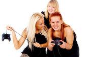 De tre flickorna förbannelse på grund av tv-spel — Stockfoto