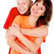A happy family, a couple hugging — Stock Photo