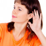 Beautiful girl listening — Stock Photo #16253547