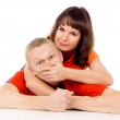 The girl was lying on his back at the guy on the floor and cover — Stock Photo #16254819