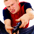 Beautiful guy, addicted to video games — Stock Photo