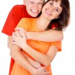 Happiest guy hugs the girl — Stock Photo