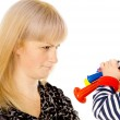 Kid blowing on mother in football beep — Stock Photo #16796415
