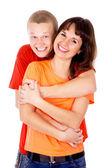 Happiest guy hugs the girl — Stock Photo