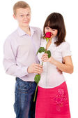 Guy give girl Rosa, makes a proposal — Stock Photo