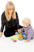 Mother is played with her baby — Stock Photo