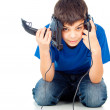 Boy with two joysticks — Stock Photo