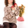 Stock Photo: Comfort curly girl in sweater