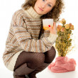 Stock Photo: Comfort, girl with cup