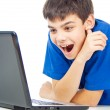 Funny guy with a laptop — Foto de Stock