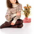 Stock Photo: Girl in a sweater and boots