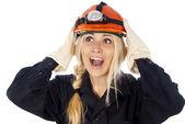 Chica de constructor en un casco y una túnica — Foto de Stock