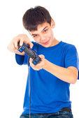Wesoły chłopak z joystickiem — Zdjęcie stockowe