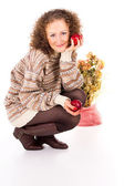 Comfort woman in sweater and red apples — Stock Photo