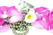 Bloem bloemblaadjes kralen achtergrond — Stockfoto