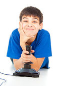 Funny guy with a joystick — Foto de Stock