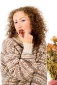 Girl eating chocolate candy — Stock Photo