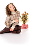 Girl in a sweater and boots — Stock Photo