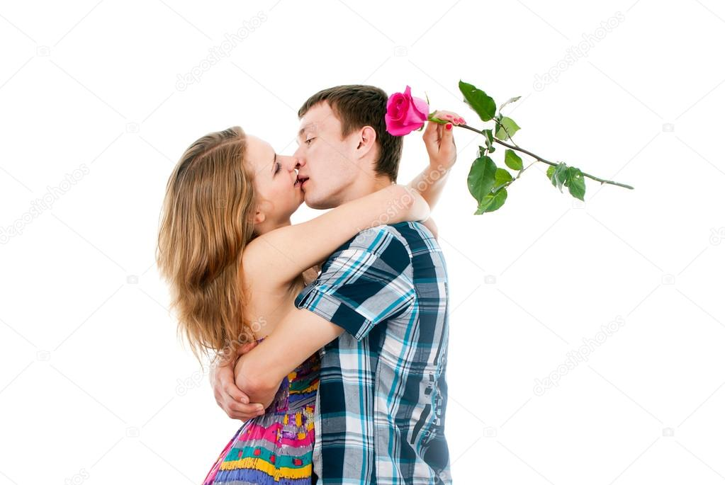 Beautiful couple in love kissing — Stock Photo #17378557