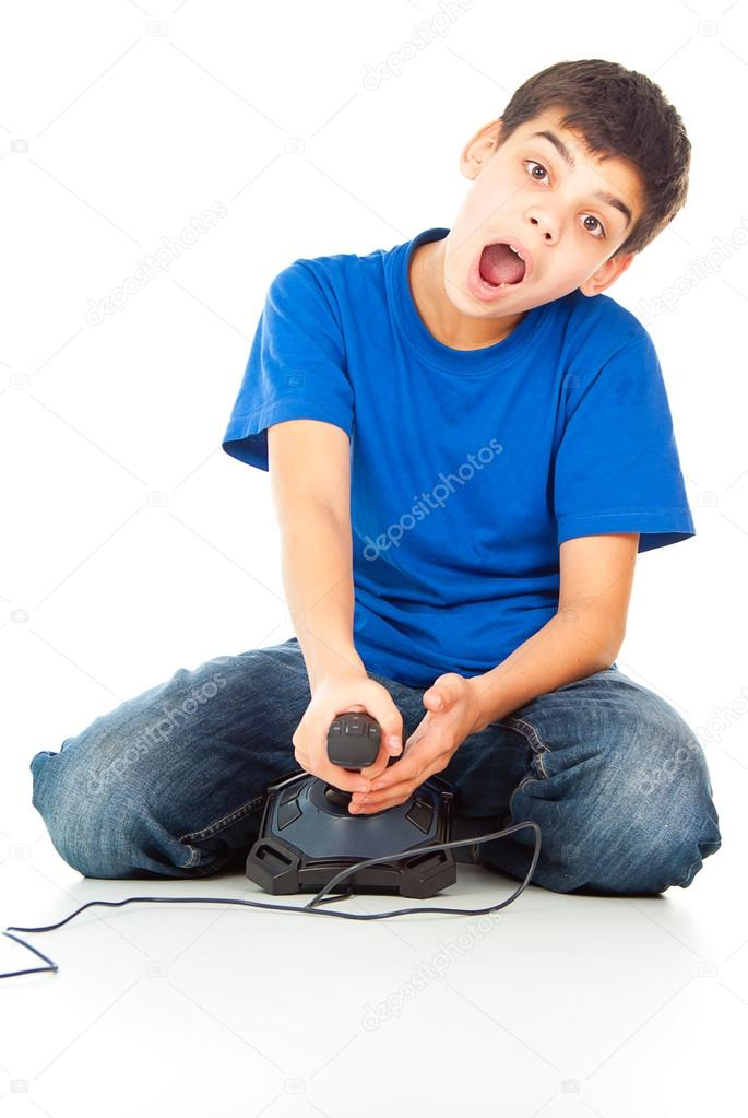 Funny guy with a joystick playing video games  Stock Photo #17379205