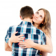 Stock Photo: Beautiful girl hugging loved one guy